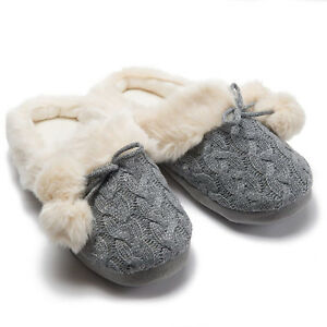 b766a3e4b7aba Women's Faux Fur Humble Cable Knit Clog Slippers with Bow and Pom's ...