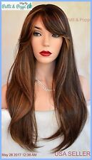 Human Hair Blend Heat Safe Skin Top Wig P4.27 Gorgeous Long Straight Style 238 B