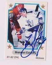 91/92 Brandon Convery Sudbury Wolves Autographed OHL Hockey Card