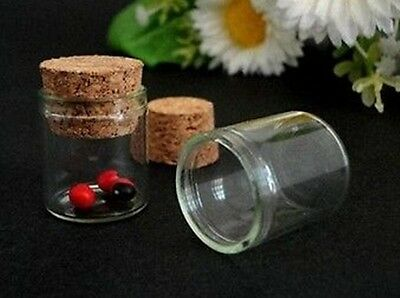 10pcs Empty Sample Vials Clear Glass Bottles with Corks Jars Small bottl 15ML