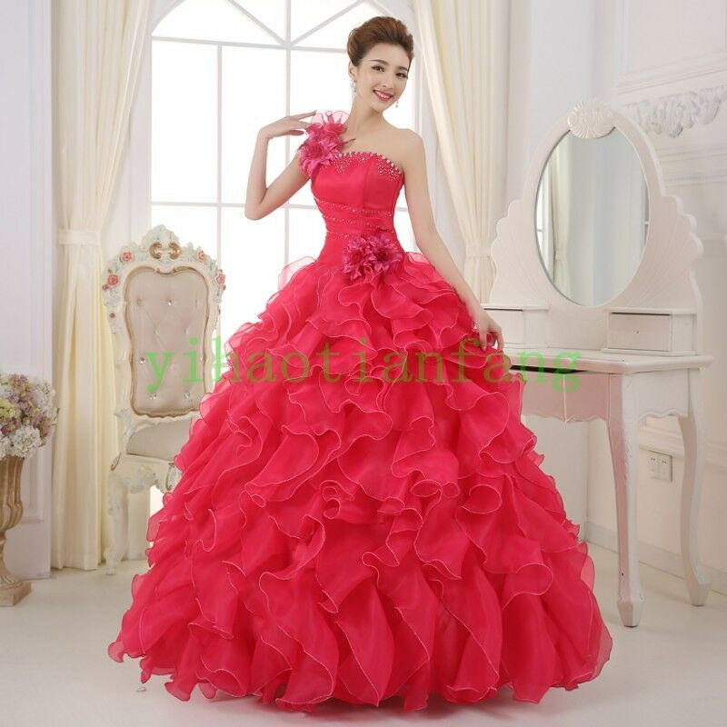 Women Quinceanera Party Ball Gown Full Length Prom Lace Wedding Dress Fashion