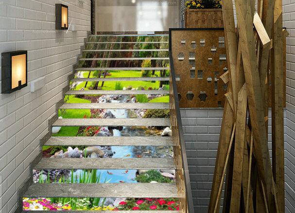 3D Rasen Bach 5123 Stair Risers Dekoration Fototapete Vinyl Aufkleber Tapete DE