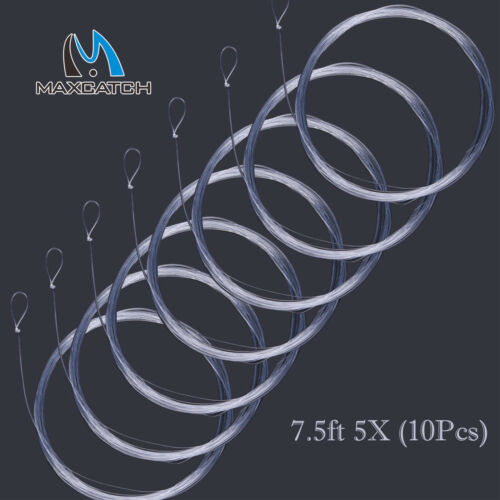 Maxcatch Fly Fishing Tapered Leader 7.5//9//12//15FT 0X-7X with Loop 10pcs