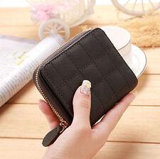 Women Leather Bifold Wallet Zipper Clutch Card Holder Purse Lady Handbag Gray