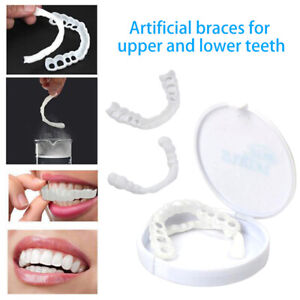 2Pcs-Non-toxic-Upper-amp-Lower-Below-White-Fake-Teeth-Veneer-Cover-Dental-Kits-Set
