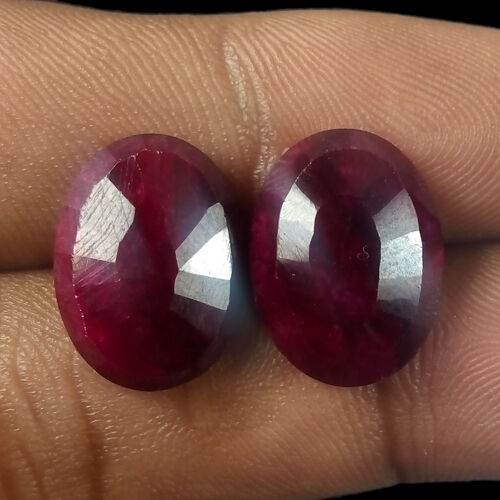 Loose Gemstone Top Quality Natural Ruby /& Sapphire Rose Cut 2 PCS Matched Pair