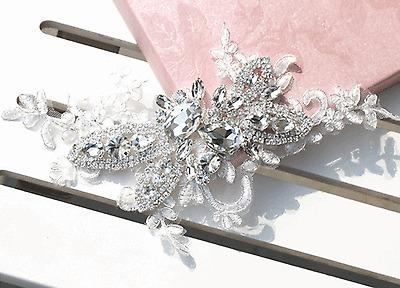 LACE BRIDAL WEDDING BRIDES RHINESTONE CRYSTAL HAIR SEW ON APPLIQUE