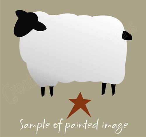 "Primitive Stencil 7/"" Country Folk Art Sheep Star Lamb Farm Animal Sigs Pillow"
