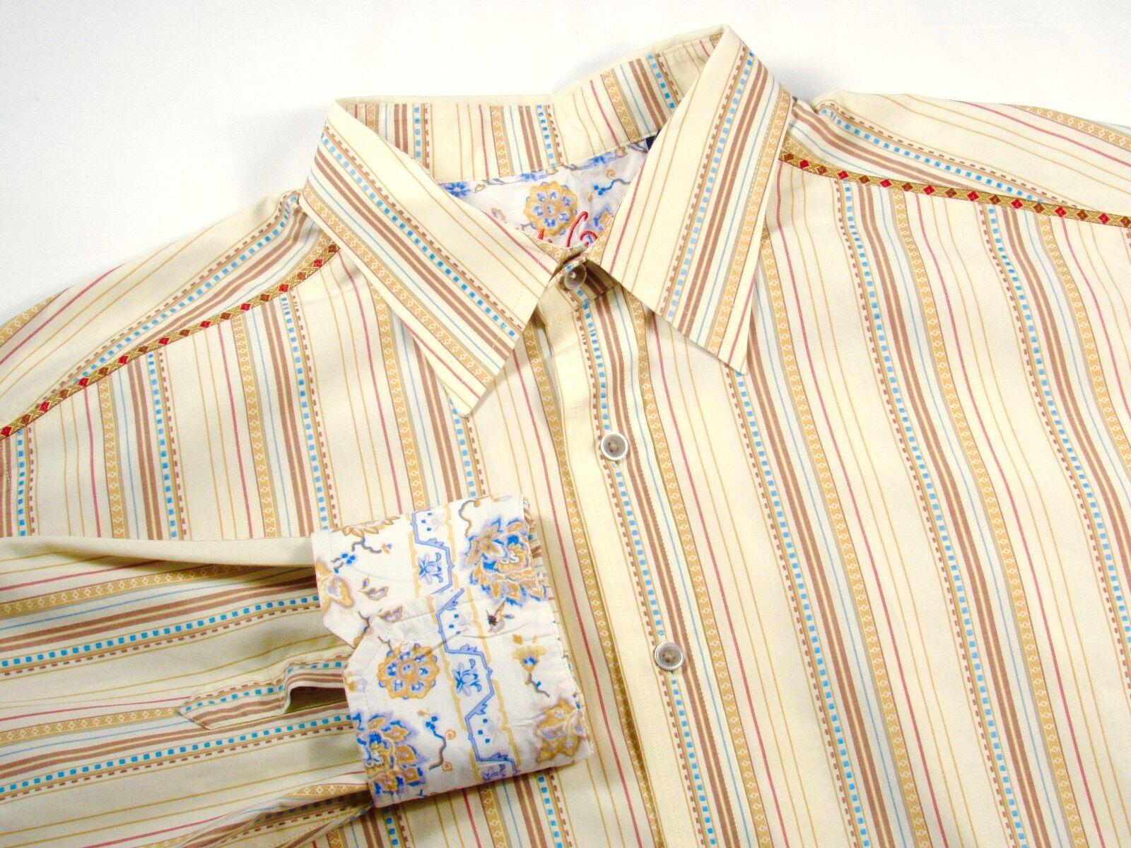 ROBERT GRAHAM - Men's XL Nordstrom Dress Casual Shirt Yellow Stripe Details GIFT