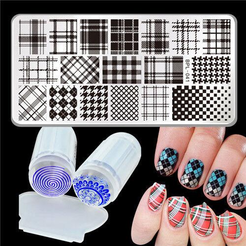 Nagel Kunst Stamping Platte Schablone BP-L041 Muster & Jelly Klar Stempel DIY