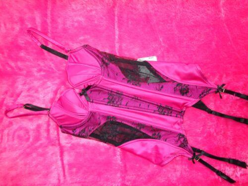 8 Suspender exposure Ann New Tags Summers Underwiredpink Basque With Size blk vwIOIqYr