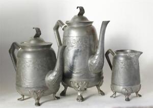 Antique German Art Nouveau Pewter Tea/Coffee Service Gerhardi #1769 c.1900