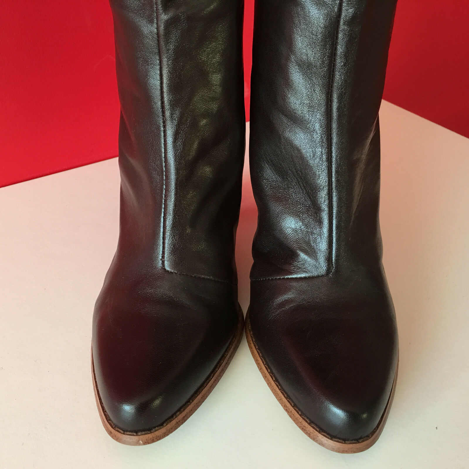 FRENCH CONNECTION Braun Leder Retro Pull On Knee Knee On High Stiefel Größe 5 EUR38 c2aa43