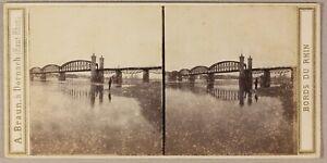 Mainz-Pont-Da-Ferro-Sur-Le-Reno-Germania-Foto-Braun-Stereo-Vintage-Albumina