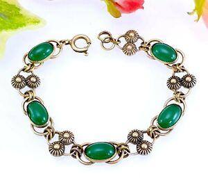 Vintage-Metal-Tono-Oro-Pulsera-de-cabujon-de-cristal-verde-mujer-o-nino-pequeno