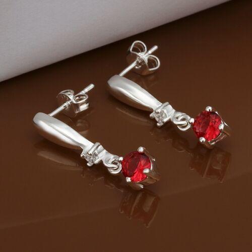 colgadores con hermosa mayúscula rojos circonita Aretes pendientes plata PL