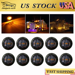 10x-3-4-034-Bullet-Round-Smoked-Amber-LED-Side-Marker-Lights-for-Trailer-Truck-JK