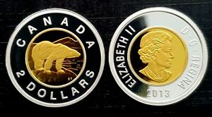Canada-2013-Gold-Plated-Proof-Gem-Silver-UNC-Toonie