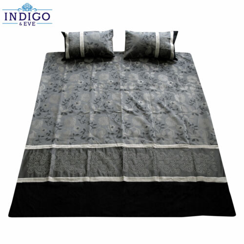 3 Pce Flamenco Charcoal Taupe Jacquard Quilt Doona Duvet Cover Set QUEEN KING