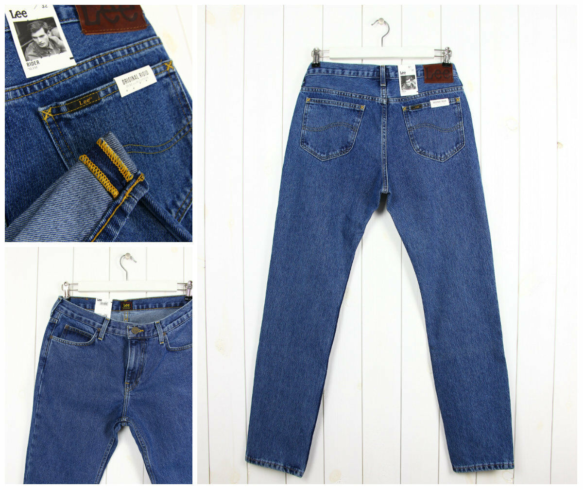 NEW LEE RIDER 14,5 OZ JEANS HEAVY DENIM STONEWASHED 101 RIDER FIT SLIM_ALL SIZES