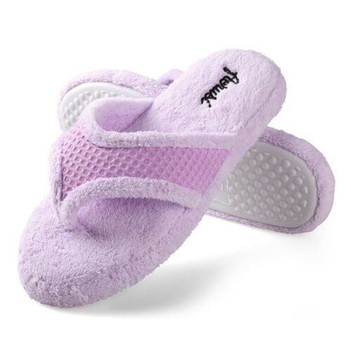 Aerusi Women Anti-Slip Thong Soft Cozy Indoor Shoes Home Bedroom Spa Slippers US