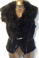KAREN MILLEN  10  sheepskin shearling luxurious BLACK gilet waistcoat