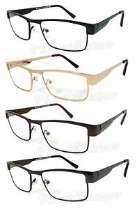 Man-Full-Metal-Frame-Clear-Lens-Reading-Vision-Glasses-Spring-Temple-RE43