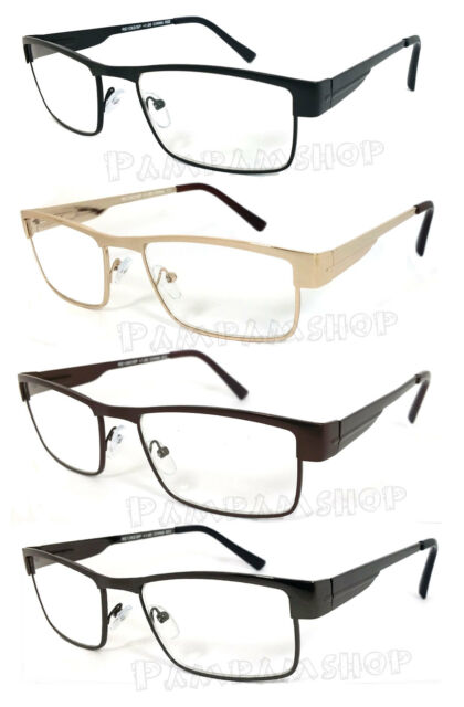 Man Full Metal Frame Clear Lens Reading Vision Glasses Spring Temple - RE43