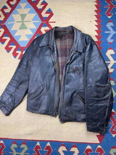 Vtg Monarch Horsehide Leather Jacket 40s Size L
