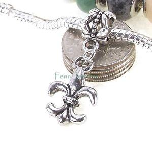 Fleur-De-Lis-Dangle-Silver-Tone-Large-Hole-Bead-for-European-Charm-Bracelet