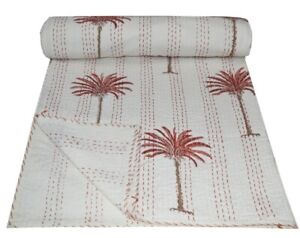 Hand Block Print Kantha quilt Palm tree kantha bed cover throw Indian blanket