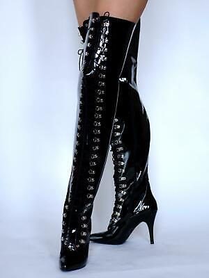 buy sale factory outlets cheap for sale MicheleX 7932 - Black PVC High Heel Court Lace Up Thigh High Boots ...
