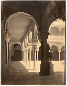 Espagne-Espana-Seville-casa-de-Pilatos-Vintage-albumen-print-Tirage-a