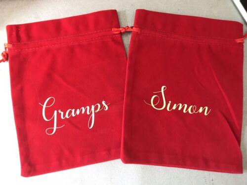Velvet Gift Bag Any Wording Christmas Present Bag Small personalised Gift bag