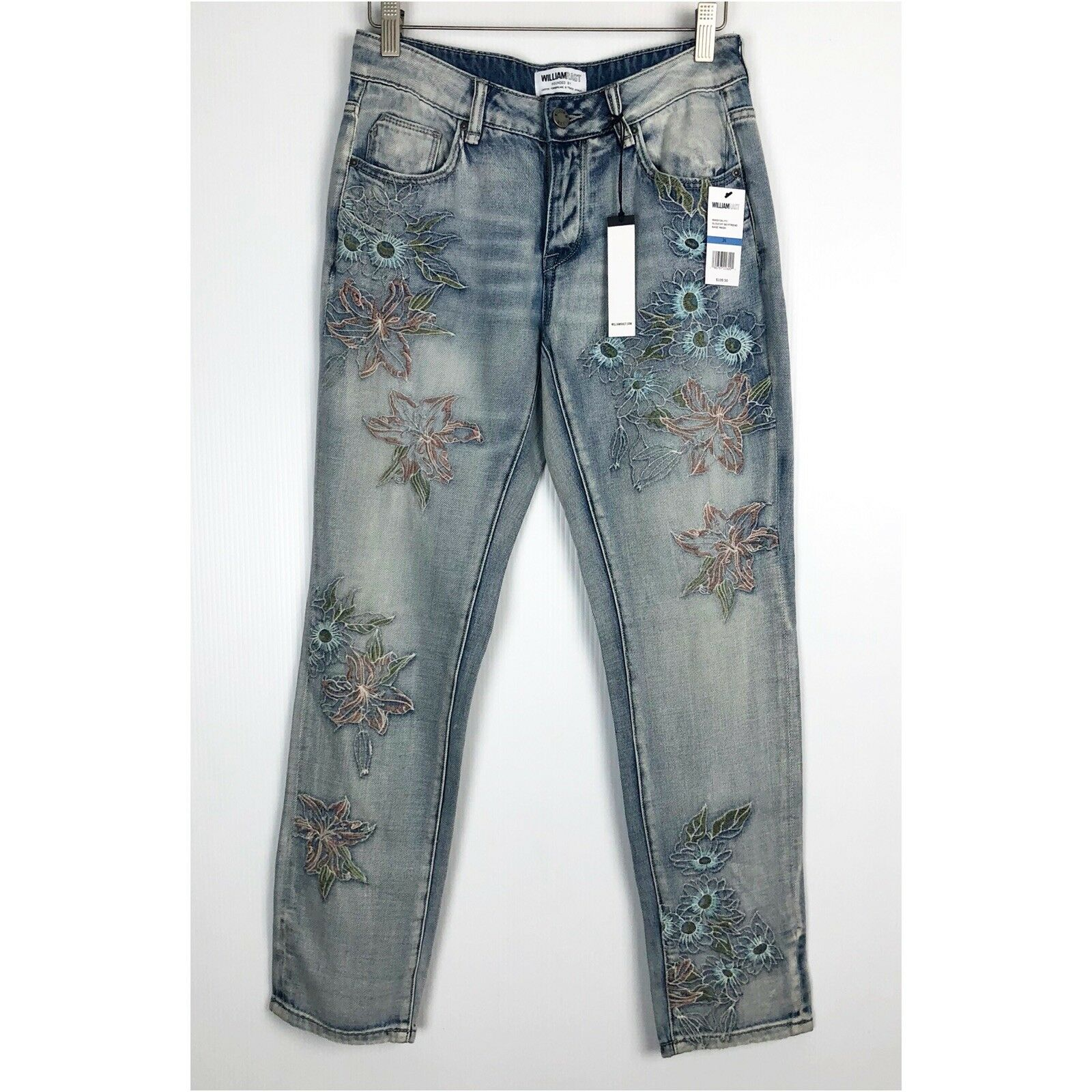 NWT WILLIAM RAST Size 25 My Ex's Jean in Embroidered Floral Relaxed Fit