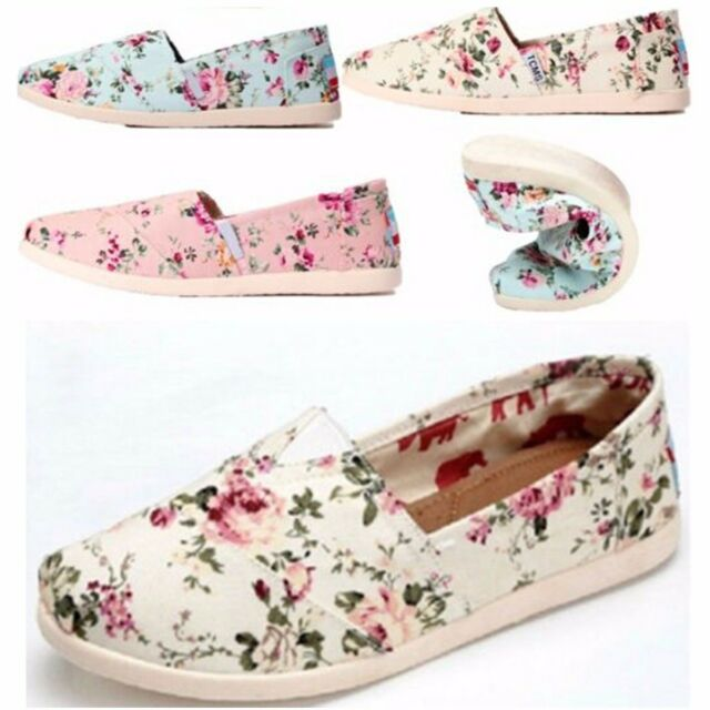 Female Floral Shoes summer Fall Canvas Shoes Women Flats low Heel Loafers Shoes