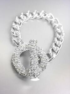 GORGEOUS-GLITZY-Silver-Pave-CZ-Crystals-Ring-amp-Toggle-Chain-Bracelet