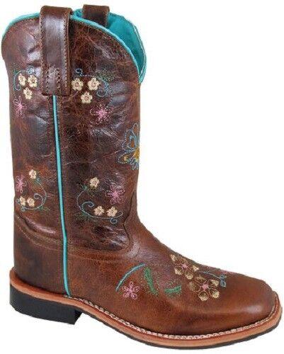 Nuevo  Damas De Smoky Mountain botas Western Cowboy De Damas Cuero Marrón Y Azul Con Flores 0628fd