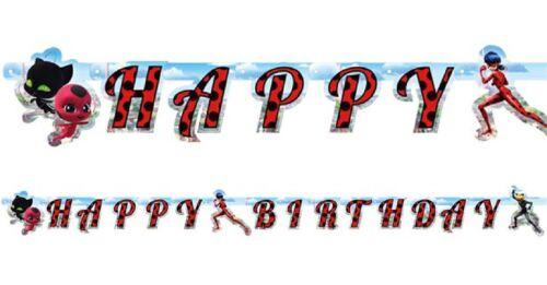 Girls Miraculous Ladybug Superhero Happy Birthday Party Banner Decorations