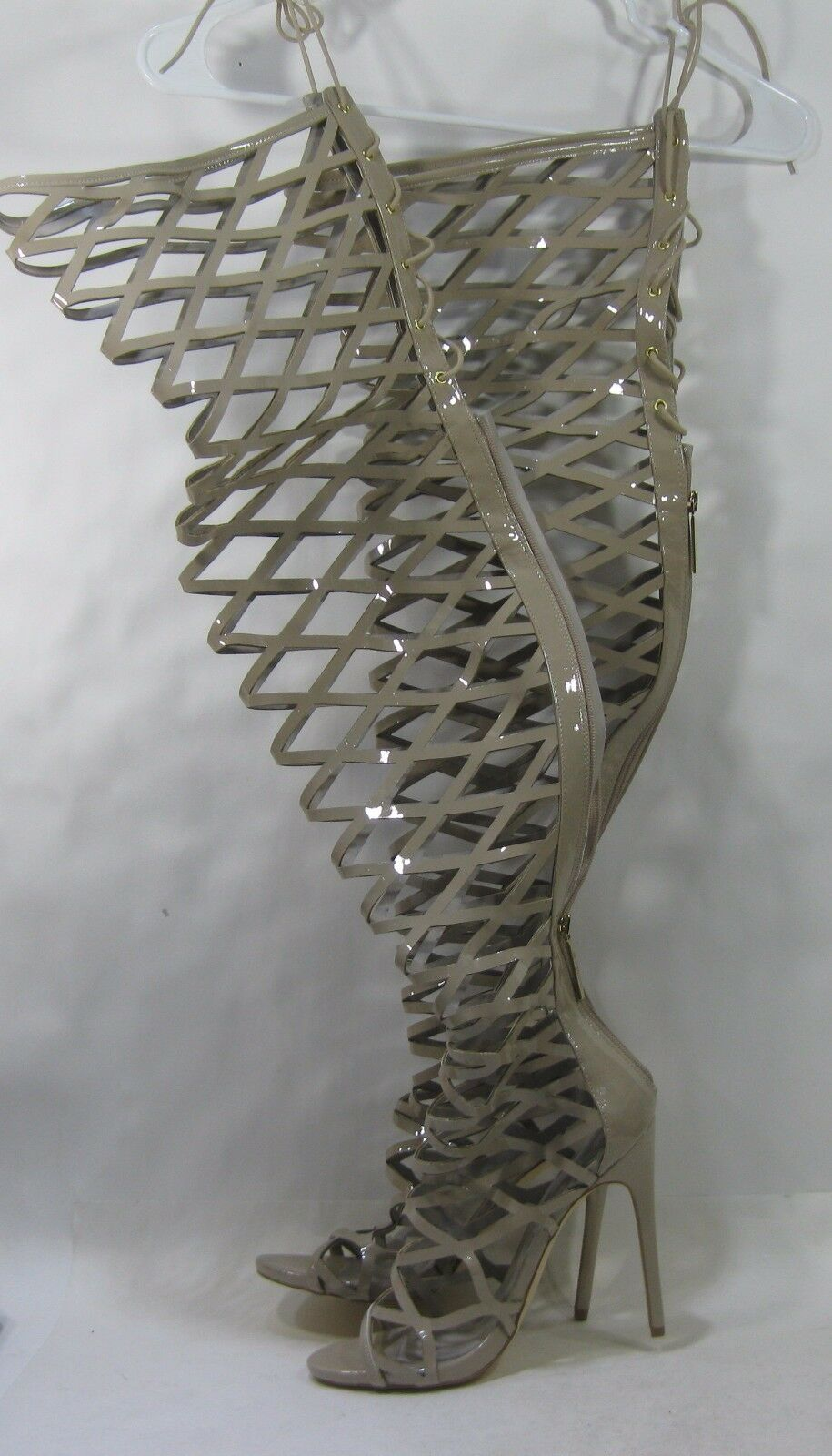 New Skintone 5  High Heel Open Toe Over Knee THigh High Summer Sexy Boot Size 10