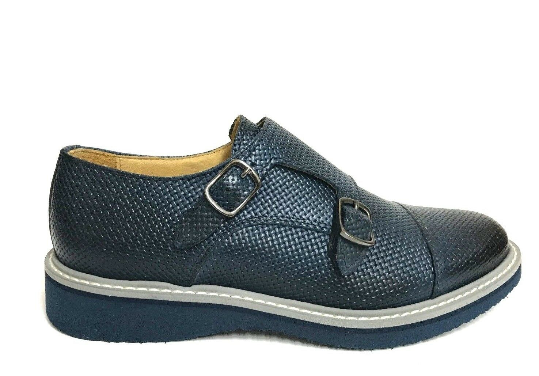 shoes men KLETOON SHOES FIBBIE INTRECCIATE 320 blue PELLE P E 2018 SCONTO 40%
