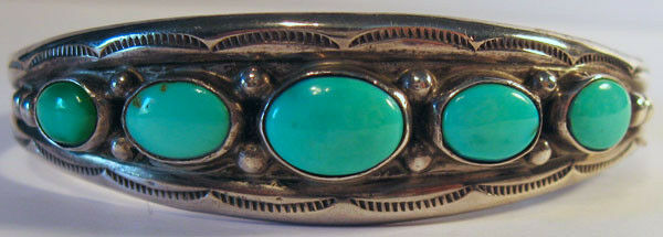 VINTAGE NAVAJO INDIAN SILVER TURQUOISE BEAUTY CUFF BRACELET