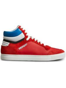 Mens-Burberry-Reeth-High-Top-Leather-Bright-Red-Suede-Shoes-Sneakers