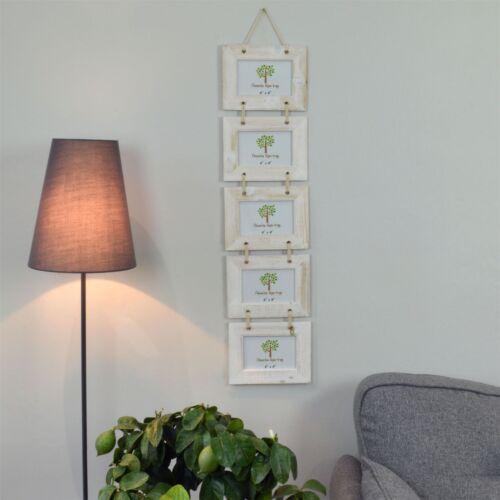 """hängend Weiß 6 x 4"""" 15 x 10 cm Bilderrahmen für 5 Fotos Holz"""