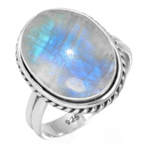 925 Sterling Silver Women Jewelry Natural Rainbow Moonstone Ring Size 5 CY13644
