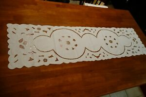 Vintage-Off-White-Floral-Pattern-Linen-Table-Runner-48-034-x-13-034-Beautiful-Design
