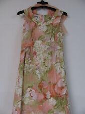 Tori Richard Hawaiian Maxi Dress Sheer Cape Size 10 Pastel Floral Tank Vintage