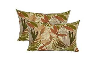 Qty 2 White Green Tan Brown Palm Leaf In Outdoor