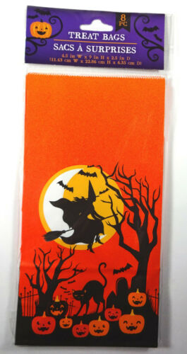 """Halloween Holiday 9/""""t Paper Treat Bags Witch Cat Pumpkins Bats Decoration 8pc"""