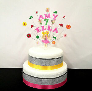Image Is Loading Fairy Wonderland Double Name Birthday Cake Topper Personalised